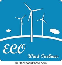 青, エコロジー, options., ポスター, infographics, タービン, フライヤ, 背景, メニュー, ∥あるいは∥, 風