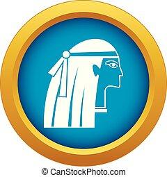 青, エジプト人, 隔離された, ベクトル, 女の子, アイコン