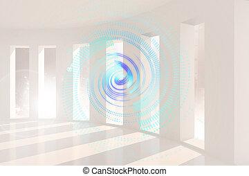 青, エネルギー, らせん状に動きなさい, 中に, 白い部屋