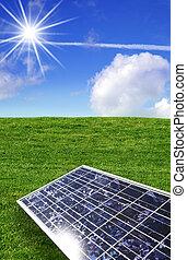 青, エネルギー, 空, に対して, 太陽, 草, パネル