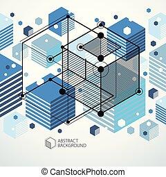 青, エンジン, illustration., 抽象的, 現代, 未来派, 形, mechanism., 工学, ベクトル, レトロ, 幾何学的, 案, ∥あるいは∥, 背景, 3d
