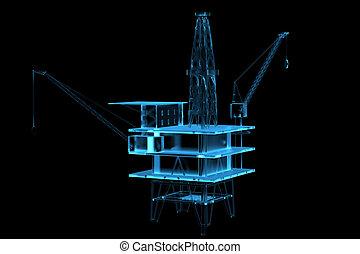 青, オイル,  (3d,  transparent), x 線, 用具一式