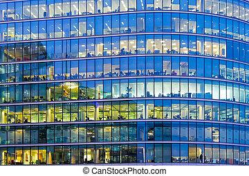 青, オフィス, 窓