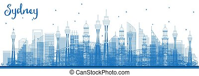 青, オーストラリア, アウトライン, スカイライン, シドニー, 建物。