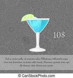 青, カクテル, カード, テンプレート, アルコール中毒患者