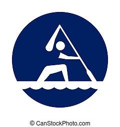 青, カヌー, pictogram, ラウンド, 新しい, スプリント, スポーツ, circle., アイコン