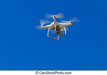 青, カメラ, 飛行, 空, 無人機