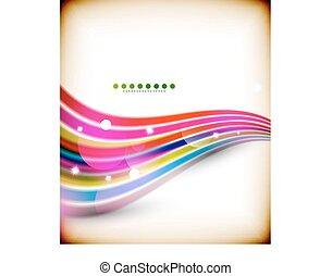 青, カラフルである, ライン, 波, ライト, 背景, 技術