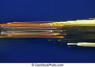 青, カラフルである, 抽象的, lighs, 夜, 上に, blurry