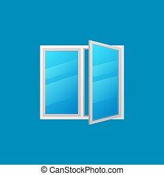青, カラフルである, 窓, ベクトル, 背景, 開いた, アイコン