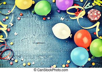 青, カラフルである, 項目, フレーム, 暗い, 多色刷り, birthday, 背景, パーティー