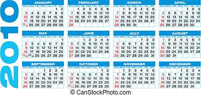 青, カレンダー, 2010
