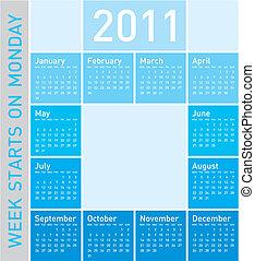 青, カレンダー, 2011