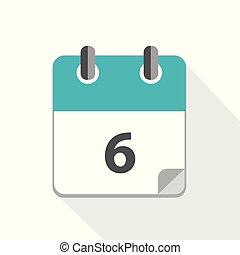 青, カレンダー, 6, ビジネス, アイコン