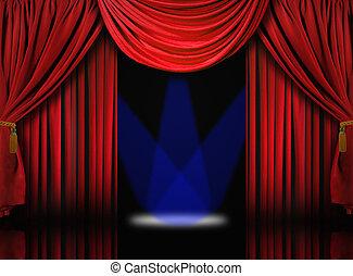 青, カーテン, ドレープ, 劇場, スポットライト, ビロード, ステージ