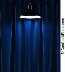 青, カーテン, ランプ