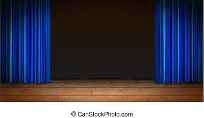 青, カーテン, 劇場, 木製である, 現場, 暗い背景