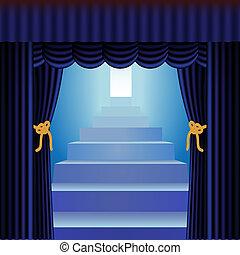 青, カーテン, 階段