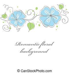 青, カード, イラスト, かわいい, 花, ベクトル, バックグラウンド。