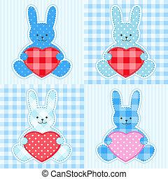 青, カード, ウサギ