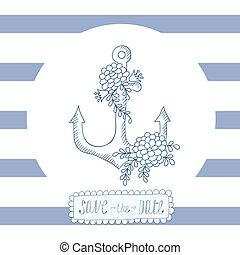 青, カード, フレーム, 挨拶, 招待, anchor., ストライプ, ラウンド