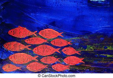 青, キャンバス, 芸術, 抽象的, ペンキ, 背景, fish, 赤