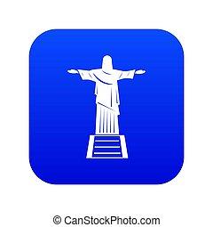 青, キリスト, 救助者, 像, デジタル, アイコン