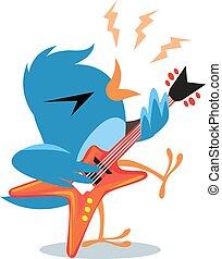 青, ギターの遊ぶこと, 鳥, 岩