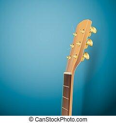 青, ギターヘッド, 背景, 音響