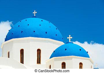 青, ギリシャ語, santorini, ドーム, 教会
