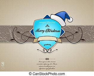 青, クリスマスカード, hat.