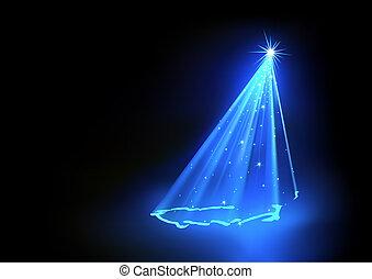 青, クリスマスツリー, 抽象的