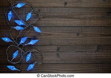 青, クリスマスライト, 上に, 木製である, 背景