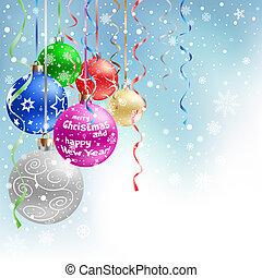 青, クリスマス, 背景, 安っぽい飾り