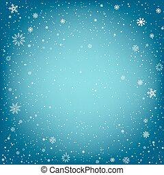 青, クリスマス, 背景, 雪