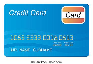 青, クレジット, ベクトル, カード