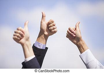 。, 青, クローズアップ, 保有物, ビジネス, 提示, チーム, 空, 反対で上げなさい, ∥(彼・それ)ら∥, ...