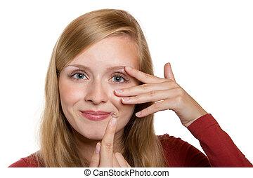 青, クローズアップ, 女性の目, レンズ, 連絡, 適用