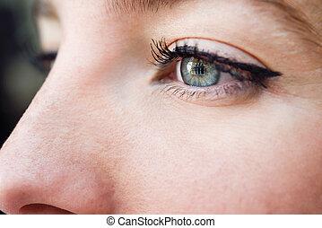 青, クローズアップ, 女性の目, 若い, 打撃