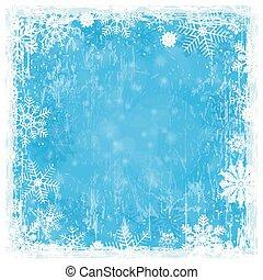 青, グランジ, クリスマス, 背景