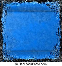 青, グランジ, 型, 抽象的, 手ざわり, バックグラウンド。, フレーム