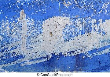 青, グランジ, 壁, 手ざわり, ペンキ, 背景, 年を取った
