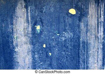 青, グランジ, 壁, 手ざわり, 背景, 年を取った
