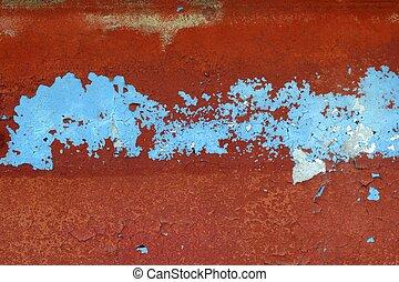 青, グランジ, 壁, 手ざわり, 背景, 年を取った, 赤