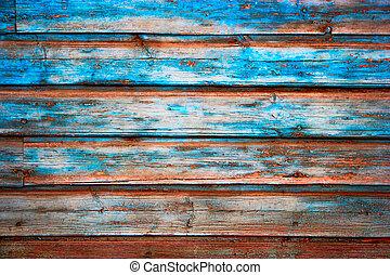 青, グランジ, 外気に当って変化した, ペイントされた, 手ざわり, 木