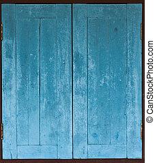 青, グランジ, 外気に当って変化した, 手ざわり, 窓, 木, 年を取った