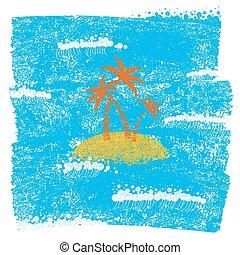 青, グランジ, 背景, 島, 手ざわり, ペーパー, やし, 海