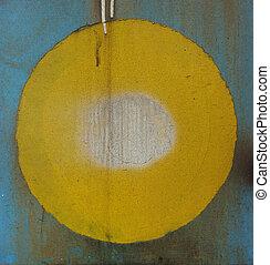 青, グランジ, 金属, 滴り, 黄色, 白い円