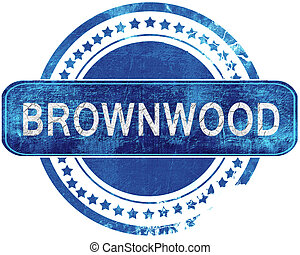 青, グランジ, 隔離された, stamp., brownwood, white.