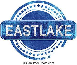 青, グランジ, 隔離された, stamp., white., eastlake